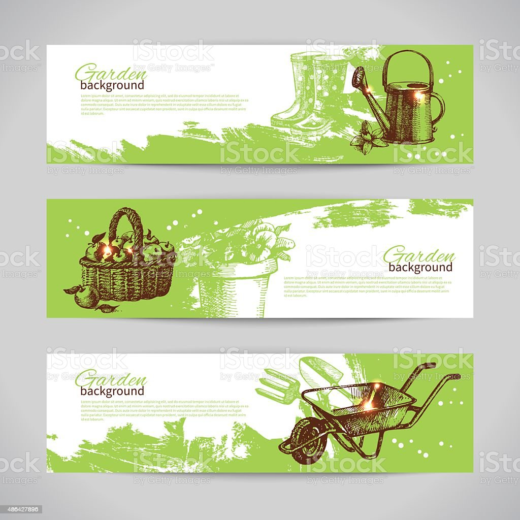 Set of sketch gardening banner templates. Hand drawn vintage ill vector art illustration