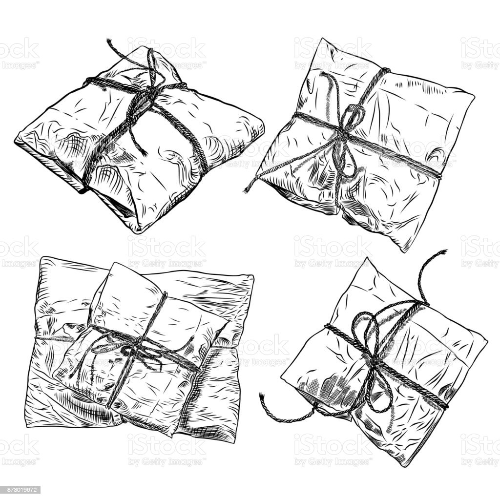 Set of sketch gift boxes with bow hand drawn illustration of magic boxes boxing
