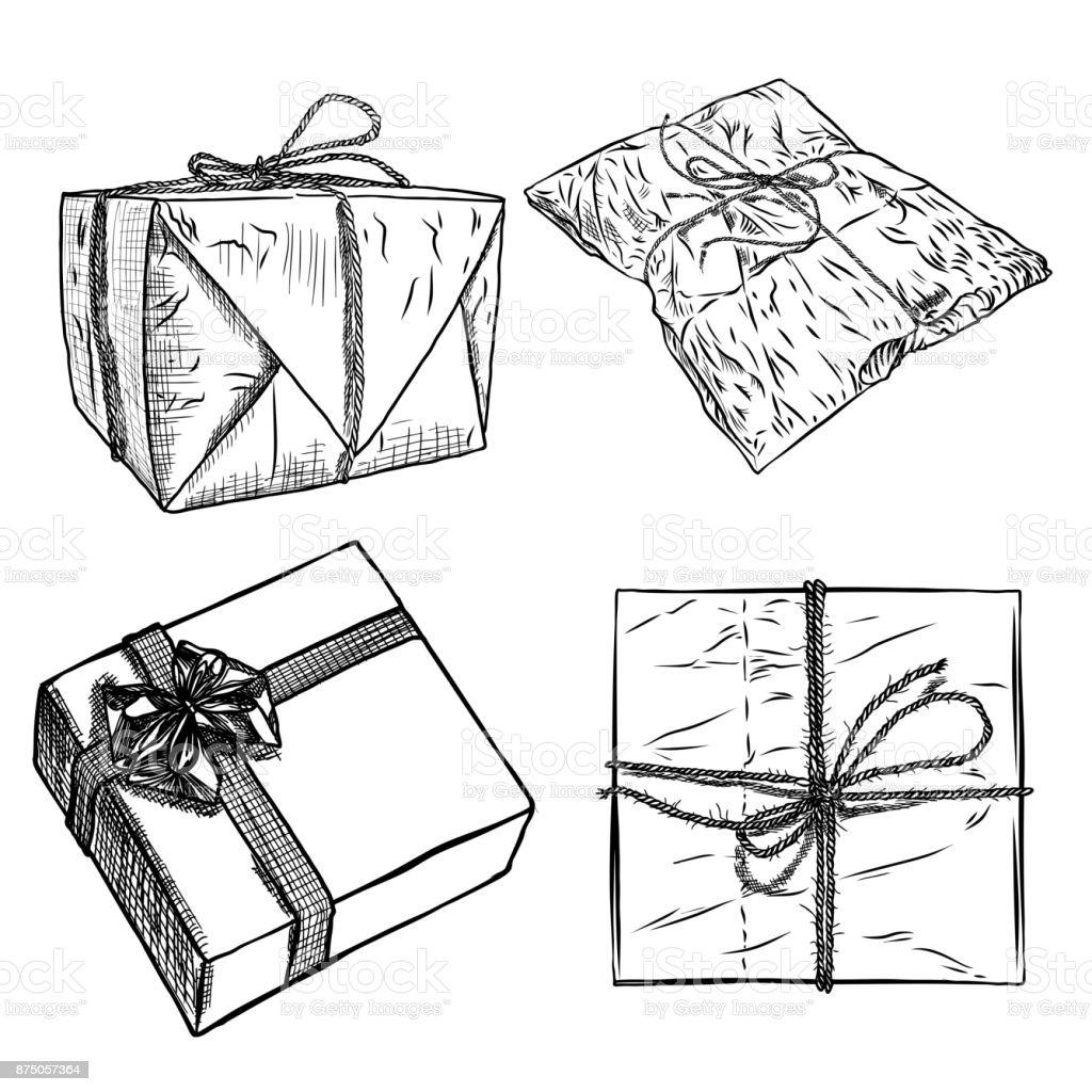 Satz Von Skizze Geschenkboxen Mit Bogen Handgezeichnete Abbildung ...