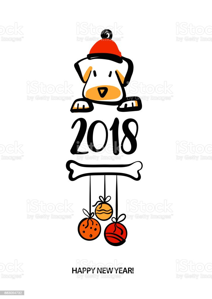 Set Of Sketch Image Four Dog Puppy Symbol Chinese Happy New Year