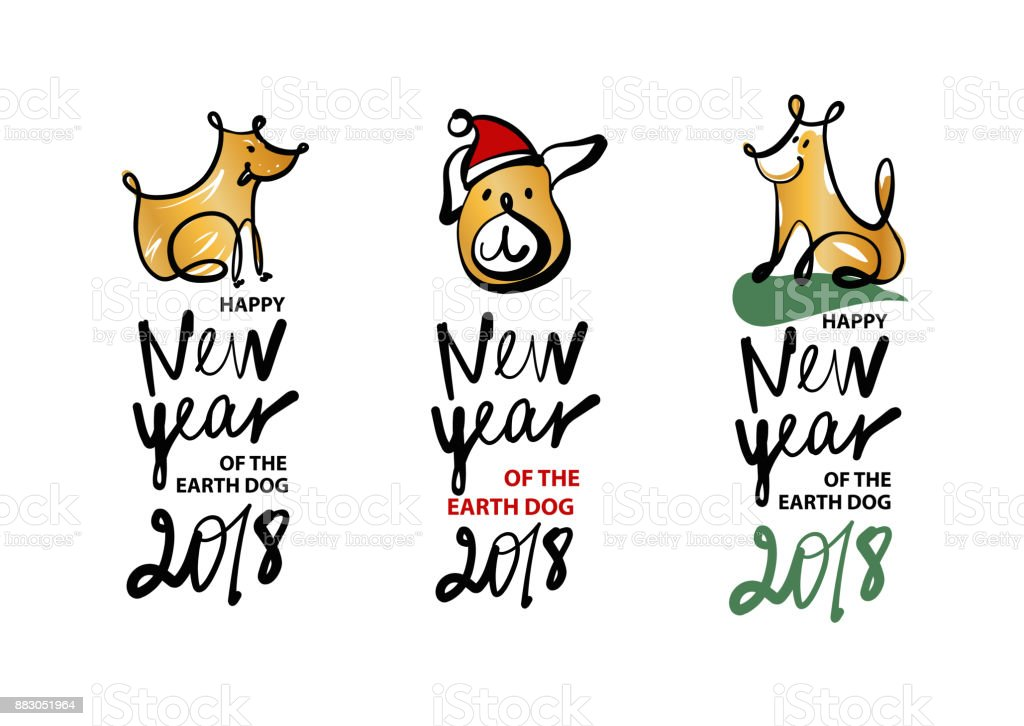 Set Of Sketch Image Three Dog Puppy Symbol Chinese Happy New Year