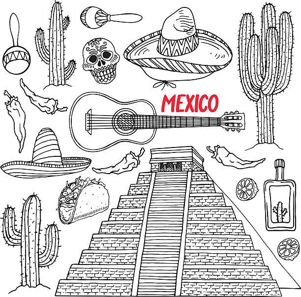 bildbanksillustrationer, clip art samt tecknat material och ikoner med set of sketch mexican items - cactus lime
