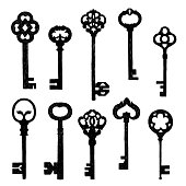 Set Of Sketch Old Keys