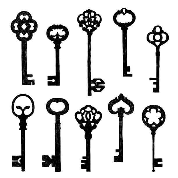 ilustrações, clipart, desenhos animados e ícones de velho desenho de conjunto de chaves - chave
