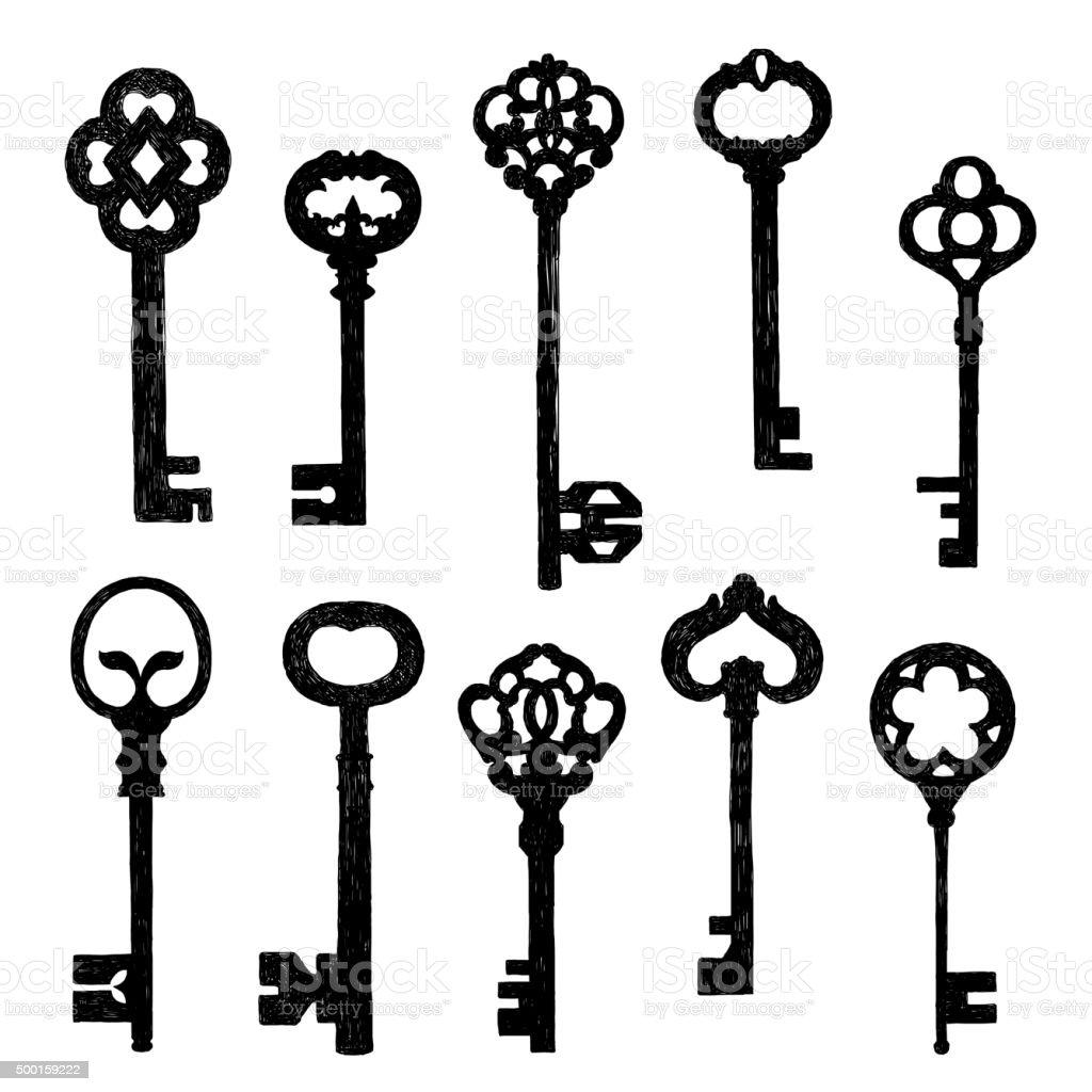Set Of Sketch Old Keys vector art illustration