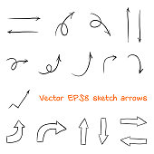 Set of sketched arrows