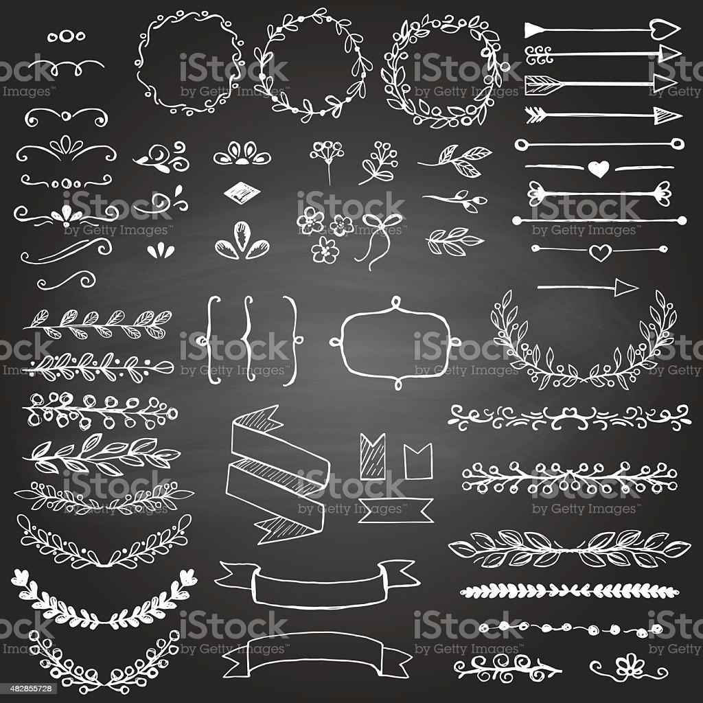 Set of sketched design elements on the blackboard vector art illustration