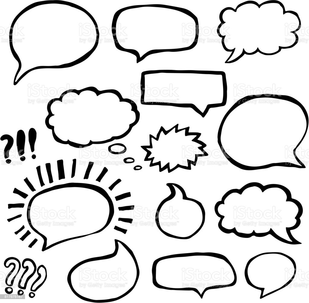 Set of Sketched Speech Bubbles vector art illustration