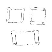Set of sketches of ancient scroll, isolated on white background.