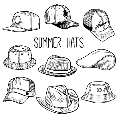 Set of sketches of summer sun hats and caps
