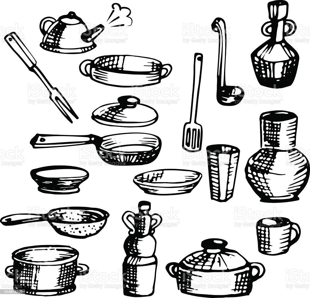 Conjunto De Desenhos De Lou As E Talheres Utens Lios De Cozinha  ~ Desenho Utensílios De Cozinha
