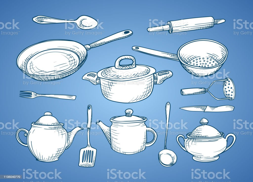 Set Of Sketches With Kitchen Utensils White Dishes On A Blue