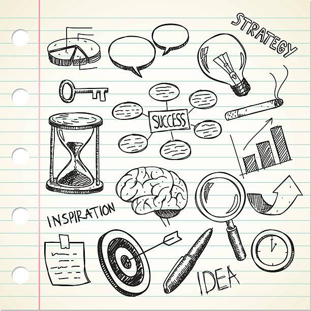 bildbanksillustrationer, clip art samt tecknat material och ikoner med set of sketchy business doodle - brain magnifying