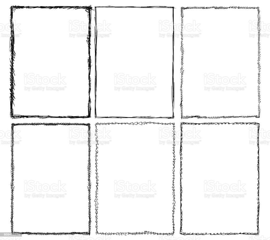 Set of Sketchy Frames vector art illustration