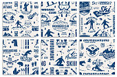 Set of Ski and Snowboard Club seamless pattern. Vector illustration