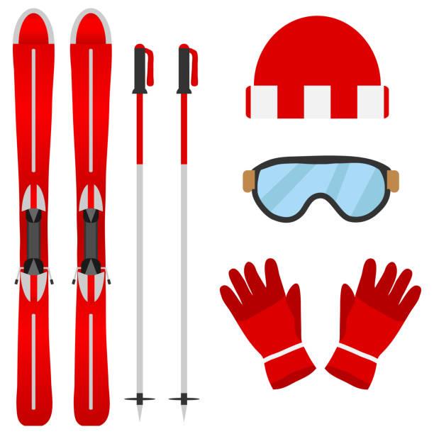 illustrations, cliparts, dessins animés et icônes de ensemble de skieurs - ski