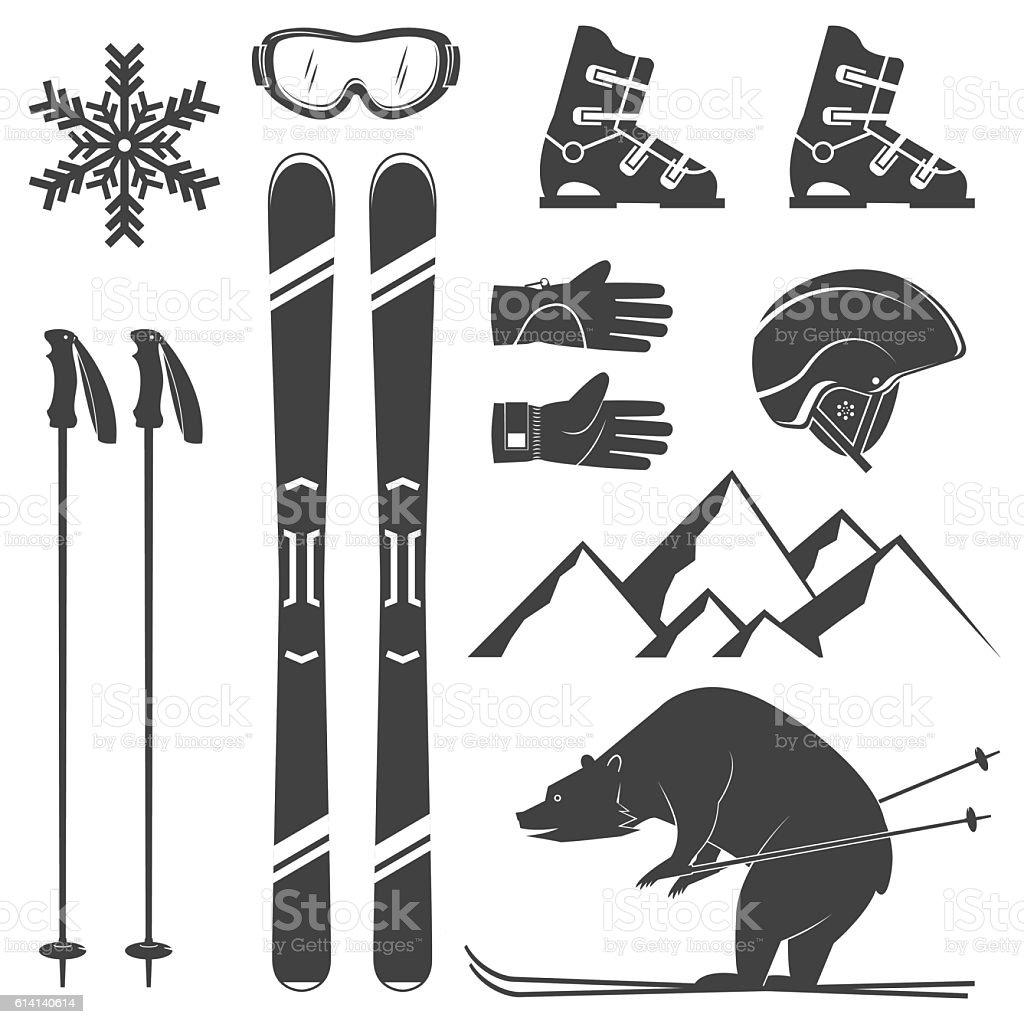 Set of skiing equipment silhouette icons. vector art illustration