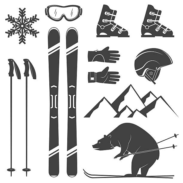 set of skiing equipment silhouette icons. - skifahren stock-grafiken, -clipart, -cartoons und -symbole