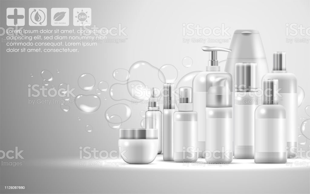 Illustration of Set of skin care natural beauty product packaging