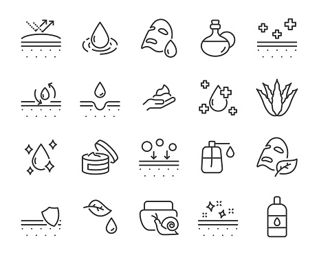 set of skin icons, such as aloevera, oil, nature, sun protect, dry, lotion