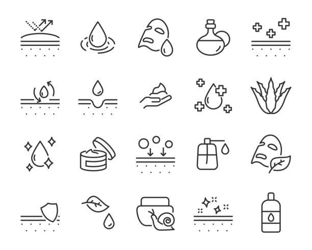 aloevera、オイル、自然、太陽保護、乾燥、ローションなどの皮膚アイコンのセット - スキンケア点のイラスト素材/クリップアート素材/マンガ素材/アイコン素材