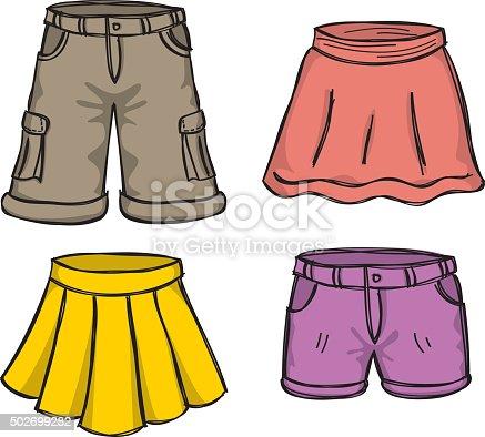 Set Of Skirts And Shorts Cartoon Doodle Stock Vector Art ...
