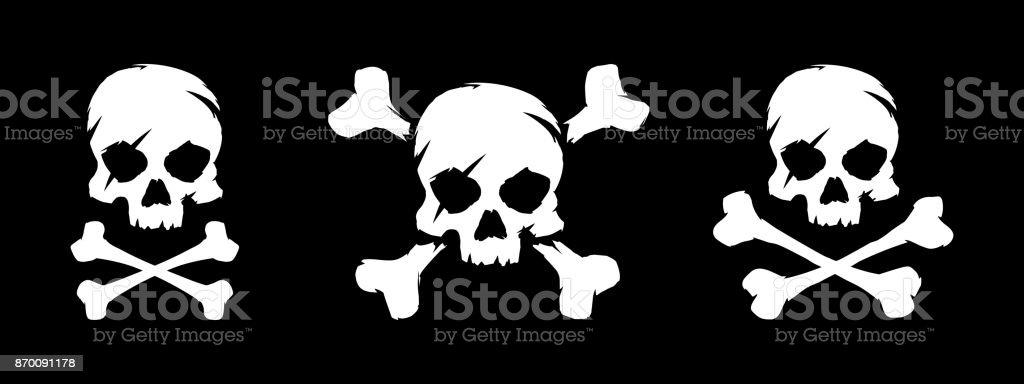 Set of skull and bones vector art illustration