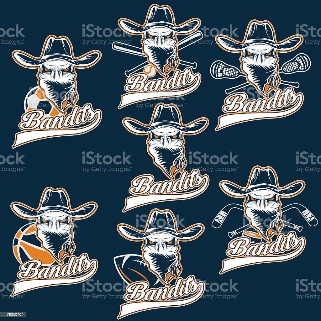 set of skull bandit sports labels vector art illustration