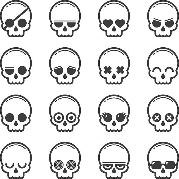 set of skull heads cartoon - totenkopf tattoos stock-grafiken, -clipart, -cartoons und -symbole