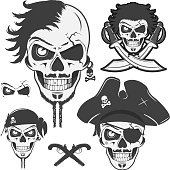 Set of skull pirates.