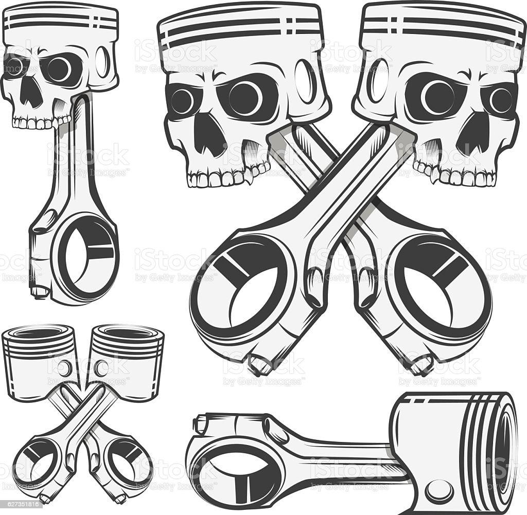 Set of skull piston for emblems,design tattoo,labels. vector art illustration