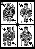 fully editable vector illustration (editable EPS) of skull playing cards, image suitable for playing card decks, graphic t-shirt, tattoo or design element