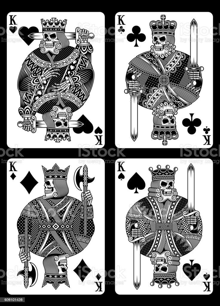 Juego de naipes de cráneo - ilustración de arte vectorial