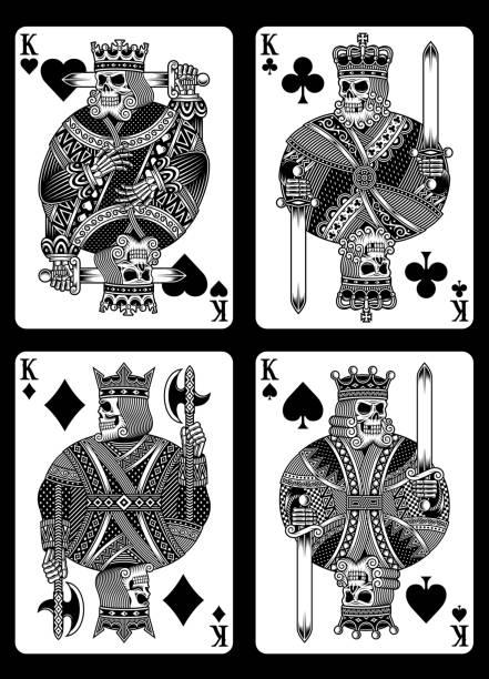 ilustraciones, imágenes clip art, dibujos animados e iconos de stock de juego de naipes de cráneo - tatuajes de calaveras