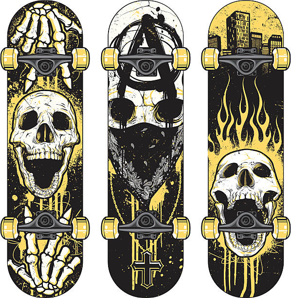 Set of Skull Themed Skateboards Set of vector skull themed skateboards. Skulls were hand rendered and intricately detailed. Designs were created with various paint splatters, scribbles and heavily distressed grunge textures. Each skateboard is grouped, but the wheels have been grouped on a separate layer so that they can be easily removed if need be. File was made using minimal colors. No gradients. anarchy symbol stock illustrations