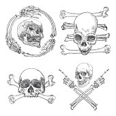 Set of Skulls crossbones, made of hands with gestures or in the frame made of hands bones. Occult witch craft magic portrait of the dead human head. Handmade detailed drawing. Vector illustration.