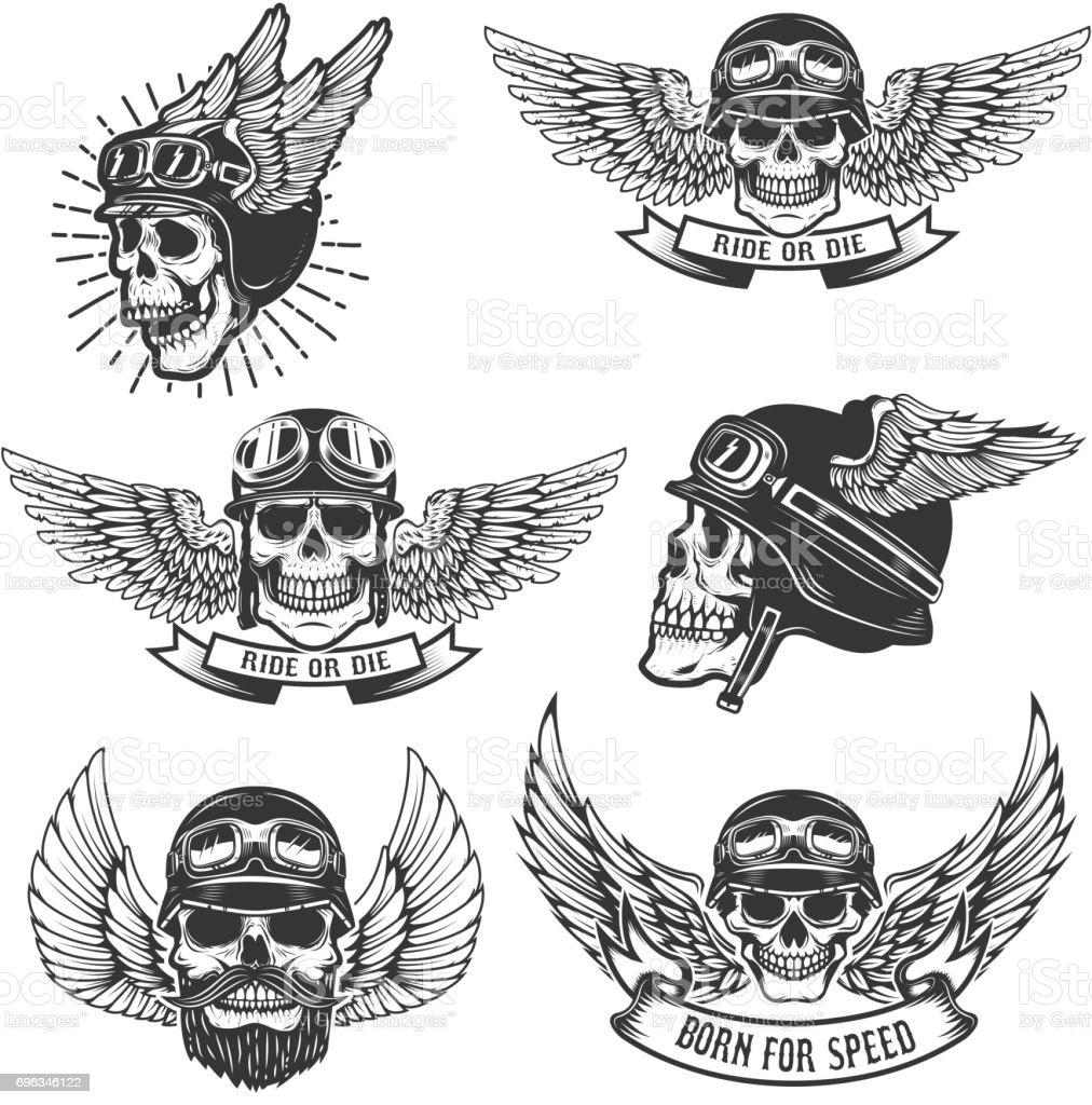 Set of skulls in winged motorcycle helmets. Design elements for label, emblem, sign, badge. Vector illustration vector art illustration