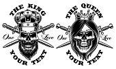 Set of skulls king and queen. Vector illustration.