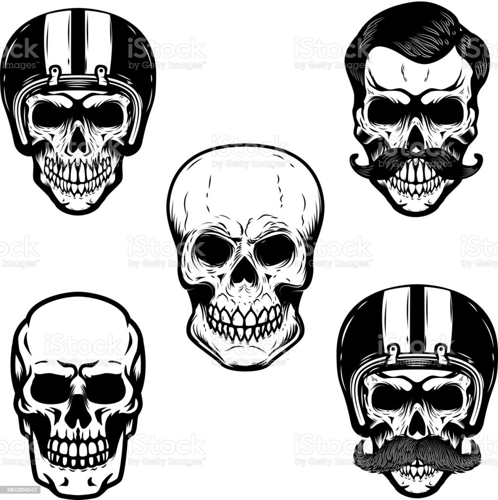 Set of skulls on white background. Cranium in racer helmet.  For emblem, sign, label, badge. vector art illustration