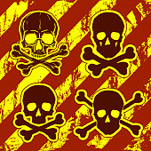 Set of Skulls with Crossbones on grunge red and yellow striped background. Freehand drawing human skulls. Vector illustration.