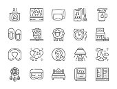 Set of Sleep Line Icons. Aroma Lamp, Bed, Pillow, Headphone, Hot Tea, Slippers, Clock, Earplugs, Moon, Dreamcatcher and more.