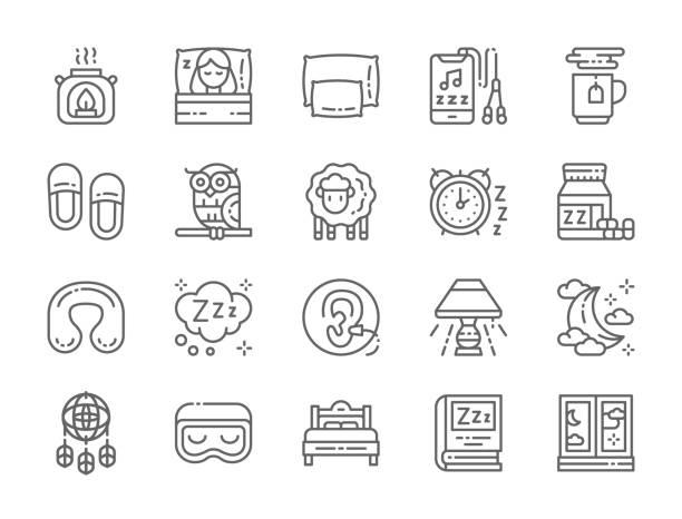 illustrazioni stock, clip art, cartoni animati e icone di tendenza di set of sleep line icons. aroma lamp, bed, pillow,  moon, dreamcatcher and more. - dream