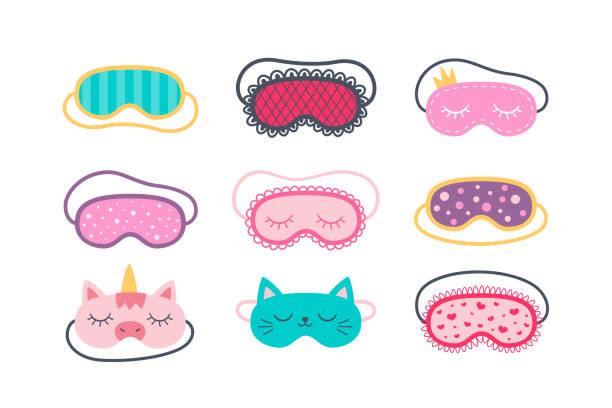 ilustrações de stock, clip art, desenhos animados e ícones de set of sleep masks for eyes. night accessory to healthy sleep, travel and recreation. - unicorn bed