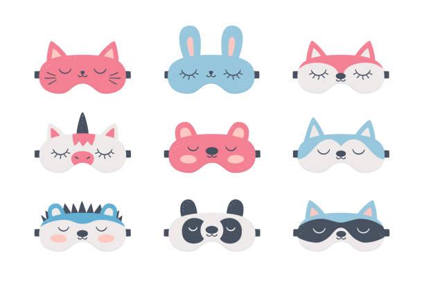 ilustrações de stock, clip art, desenhos animados e ícones de set of sleep masks for eyes with cute animals. night accessory to healthy sleep, travel and recreation - unicorn bed