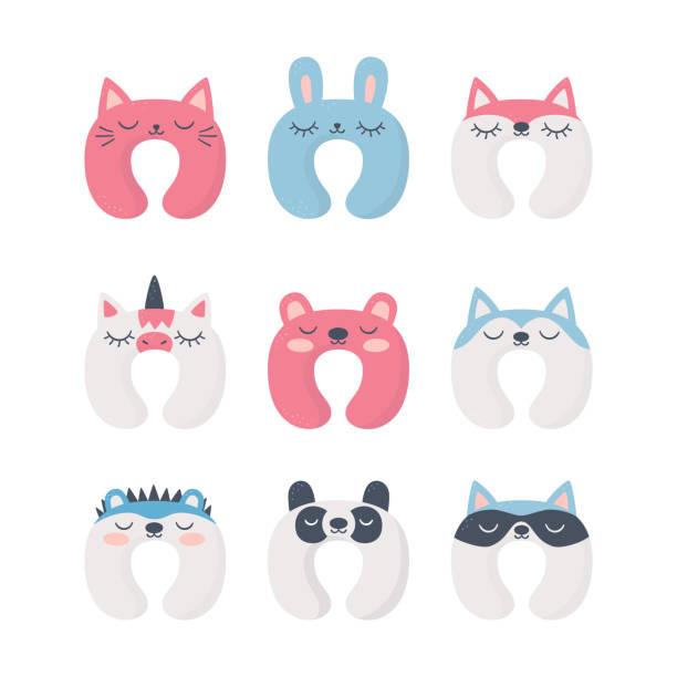 ilustrações de stock, clip art, desenhos animados e ícones de set of sleep neck pillows with cute animals. night accessory to healthy sleep, travel and recreation. - unicorn bed