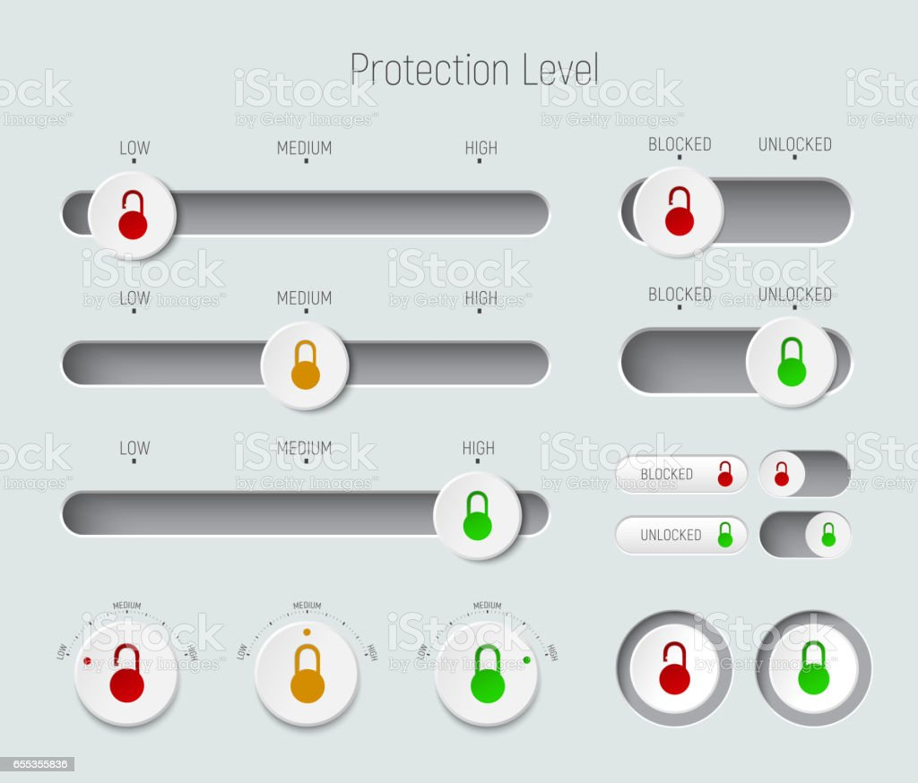 set of sliders, buttons and switches with padlocks vector art illustration