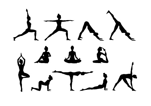 Set of slim sportive young women doing fitness and yoga exercises. Vector glitch overlay illustration design isolated on white background for t-shirt graphics, icons, posters, print