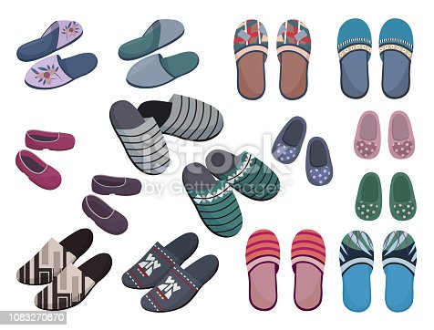 Set of slippers for the whole family, different models and colors, isolated on white background.