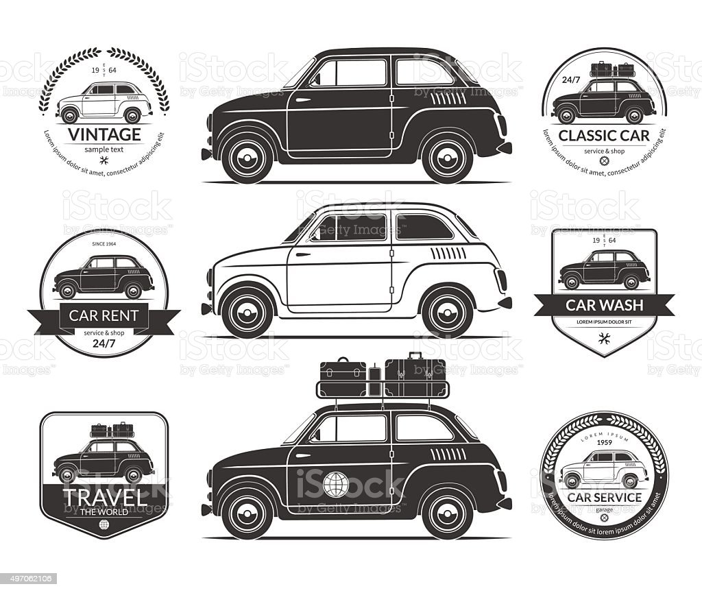 Set Of Small Classic Car Silhouettes In Vintage Style Stock