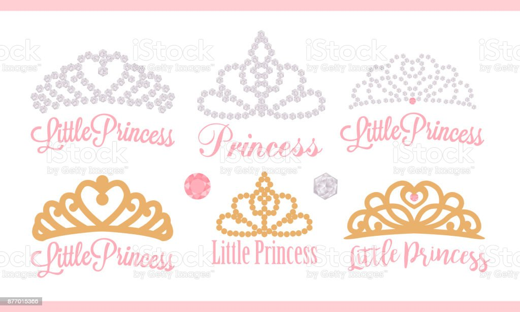 A set of small diadems. Vector design element for royal party ( baby, bridal shower; wedding: birthday) Princess gold crown with gem.
